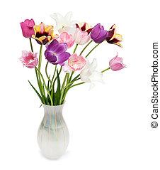 花束, チューリップ, 白い背景