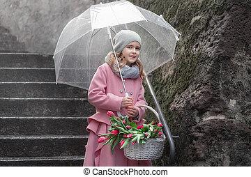 花束, チューリップ, 雨, 女の子, 日