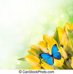 花束, チューリップ, 黄色