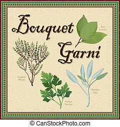 花束, ハーブ, 混ざり合いなさい, garni, フランス語