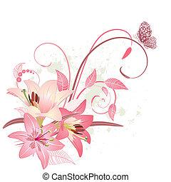 花束, ピンク, ユリ