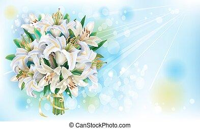 花束, ユリ, 白, カード