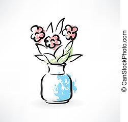 花束, 中に, a, つぼ, グランジ, アイコン