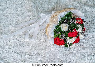 花束, 卵を生む, ばら, 結婚式, 白い赤