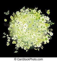 花束, 夏天, 黑色, 綠色, 植物