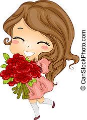 花束, 女孩, 携带