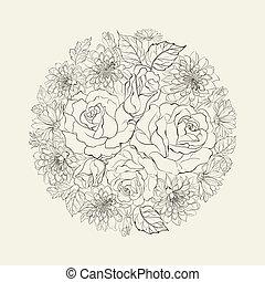 花束, 引かれる, roses., 手