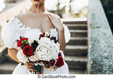 花束, 手, bride., 結婚式