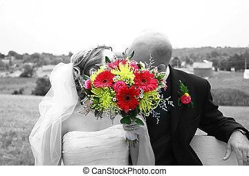 花束, 接吻, の後ろ
