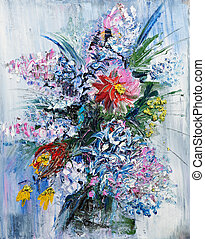 花束, 春の花, 油絵
