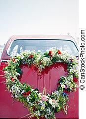 花束, 汽車, 紅色, 婚禮