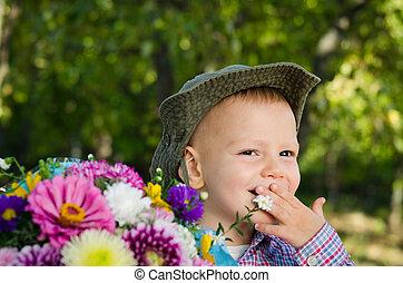 花束, 男の子, わずかしか, 花
