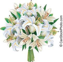 花束, 白, ユリ