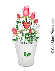 花束, 白, 美しい, バケツ, rose's