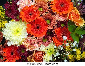 花束, ......的, 新鮮, 以及, 富有色彩的花儿