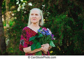 花束, 祖母, 花, park., 年配