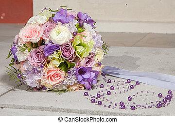 花束, 紫色, ビーズ, bridal, 結婚式