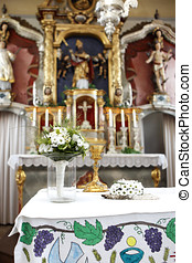 花束, 結婚式, 教会