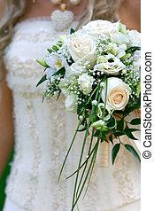 花束, 結婚式, 花嫁, 手