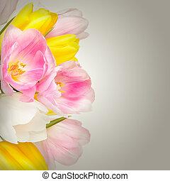 花束, 美しい, 花, チューリップ