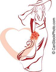 花束, 花嫁, 優雅である, 手