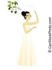 花束, 花嫁, flowers., 寝返りを打つ, アジア人