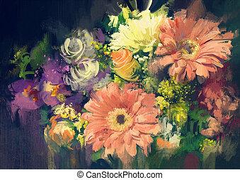 花束, 花, 中に, 油絵, スタイル