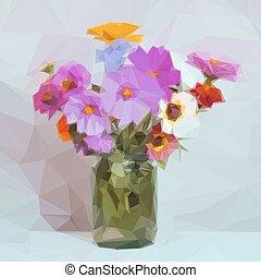 花束, 花, 低い, poly