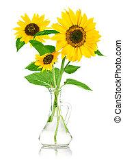 花束, 花, ......的, 向日葵, 在, 玻璃瓶