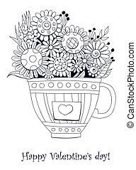 花束, 花, doodled