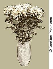 花束, 菊, つぼ