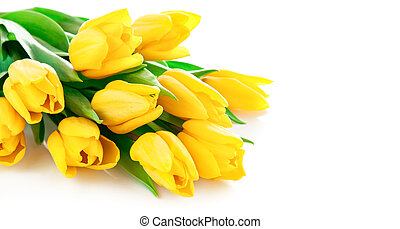 花束, 郁金香, 花, 黃色