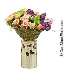 花束, 隔離された, つぼ, バックグラウンド。, 白い花