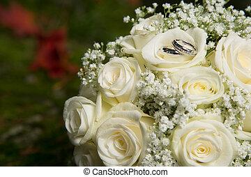 花束, bridal, リング, 結婚式