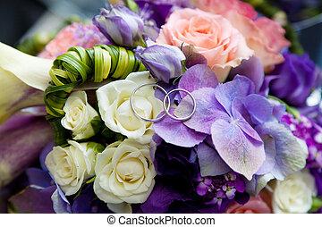 花束, bridal, リング, 2, 結婚式