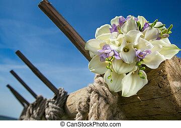 花束, bridal, 白, callas