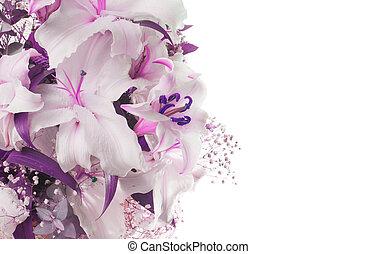 花束, lily., バックグラウンド。, 花