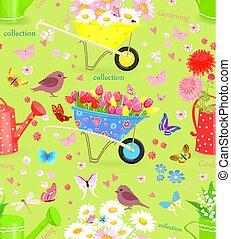 花束, seamless, 手ざわり, かなり, 新鮮な花, 庭