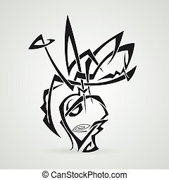 花束, vase., tattoo., tribal., vector.