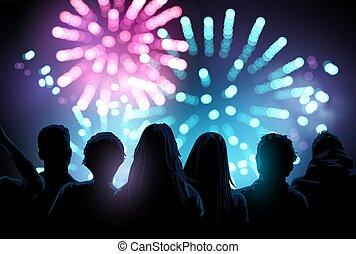 花火, グループ, 監視, ディスプレイ, 大きい, 人々