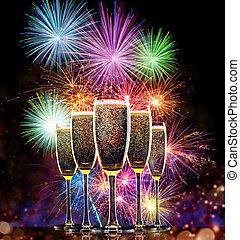 花火, シャンペン, 背景, ガラス