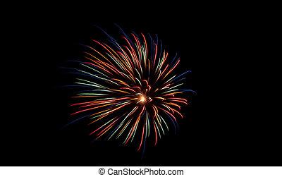 花火, 暗い, 多色刷り, 爆発する, 夜空