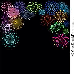 花火, 黒い背景, フレーム, カラフルである