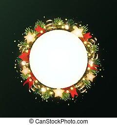 花環, 飛行物, 聖誕節, 空間, 或者, 發光, text., 輪, 金, 樅樹, 旗幟, bulbs., 蜿蜒, 星, 環繞, 分支, template., 花冠, 矢量, 發光