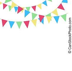 花環, buntings, 明亮, 多种顏色, 被隔离, 白色