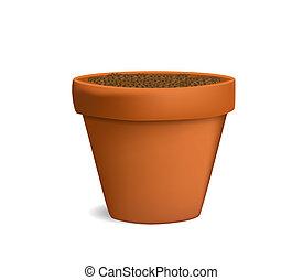 花盆, 由于, 地面, 矢量, 插圖