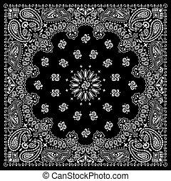 花色絲質大手帕, 黑色