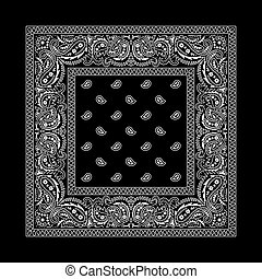 花色絲質大手帕, -, 2, 黑色