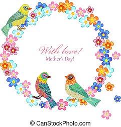 花輪, あなたの, デザイン, 招待, 花, 鳥, カード
