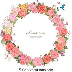 花輪, ばら, 蝶, デザイン, 美しい, あなたの